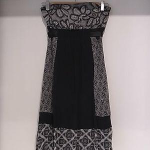 Sangria• black and grey patchwork silk dress